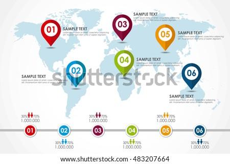 World Map Infographic Population Diagram Vector Stock Vector ...
