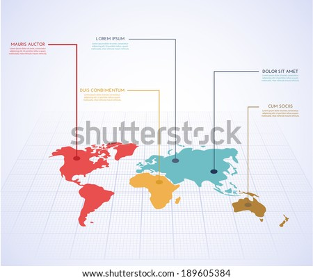 World map infographics. Vector eps10. - stock vector