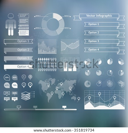 World map infographicwith unfocused background and icons set. Vector illustration - stock vector