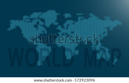 world map is made up of dots gray blue background