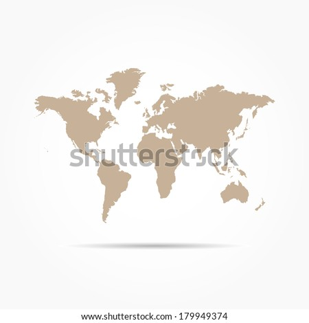 World Map Isolated on White Background - stock vector