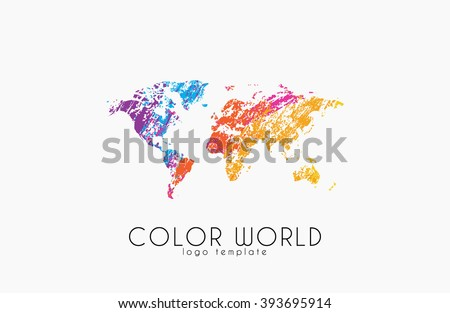 World map logo. World logo. Color world. Creative logo. Travel logo design. - stock vector