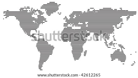 World map made from lines