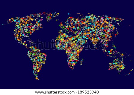 World map made of abstract colorful dots network - stock vector