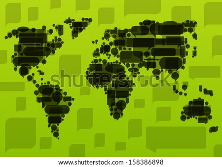 World map made of black cloud speech bubbles in ecology concept illustration background vector - stock vector