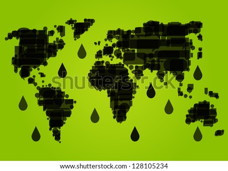 World map made of black dripping oil fields ecology environmental concept background illustration vector - stock vector