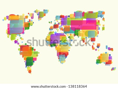 World map made of colorful speech bubbles concept illustration background vector - stock vector