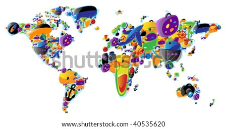 World map made of colorful travel and leisure icons. Vector illustration concept.
