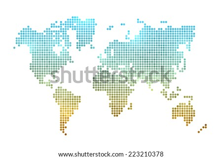 World map made of dots. Isolated on white. Cool lighting effects. EPS10 vector. - stock vector