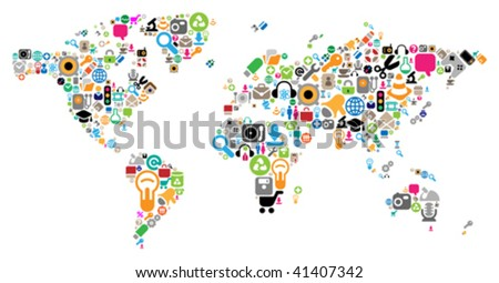 World map made of internet and computer icons. Vector illustration concept.
