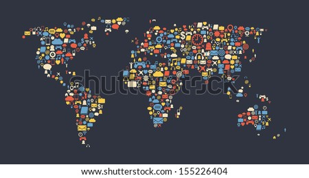 World map made of media icons. Globalization and internet concept. Vector image. - stock vector