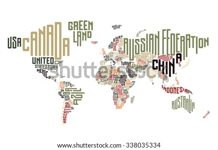 World Map Made Typographic Country Names Stock Illustration