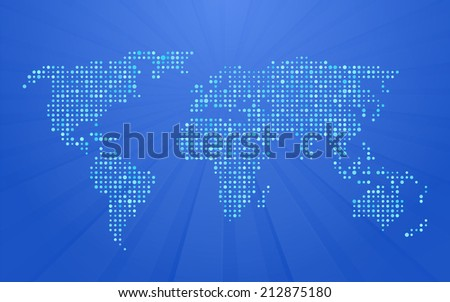 World map made small polka dots stock vector 2018 212875180 world map made up of small polka dots on blue background with rays gumiabroncs Image collections