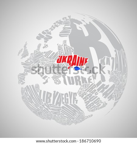 World map made up of the names of countries - stock vector