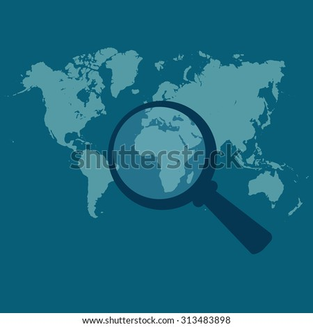 World map, magnified, vector illustration in flat design for web sites, Infographic design. - stock vector