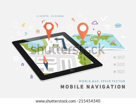 World Map. Mobile GPS Navigation. Tablet PC. Mobile Technologies Concept.  - stock vector