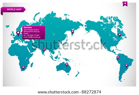 world map module for web - easy editable - stock vector