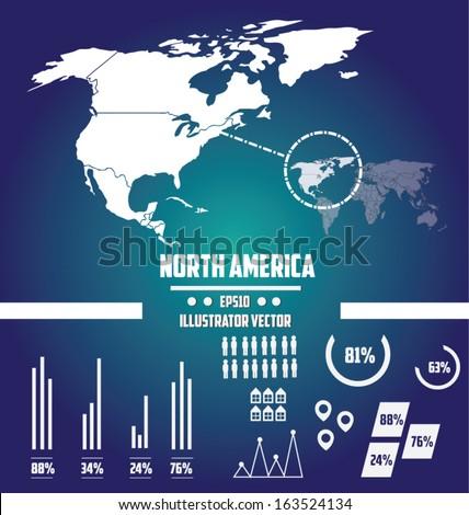 world map north america illustrator vector - stock vector