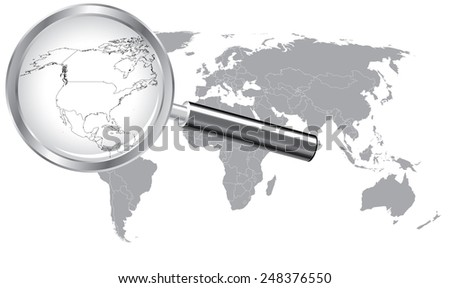 World Map North America Wired Continent with Magnifier Glass - stock vector
