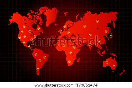 World Map Nuclear Waste Radioactive Hazard Zone - stock vector