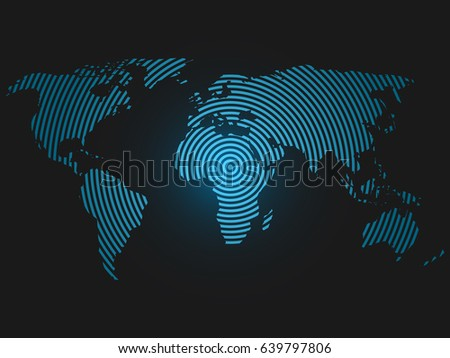 World map concentric rings blue led stock vector 639797806 world map of concentric rings blue led light futuristic design on dark background vector sciox Choice Image