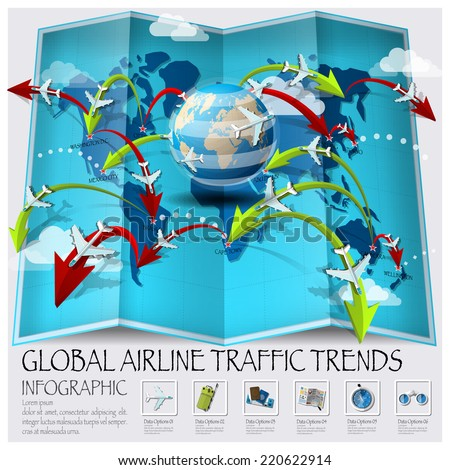 World Map Of Global Airline Traffic Trends Infographic Design Template - stock vector
