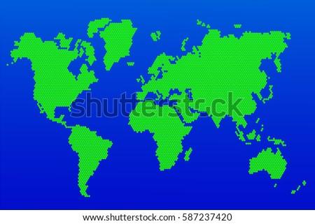 World map hexagon green mosaic world map stock vector 587237420 world map of hexagoneen mosaic world map on a blue background vector illustration gumiabroncs Gallery