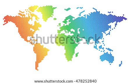 World map of rainbow hexahedrons