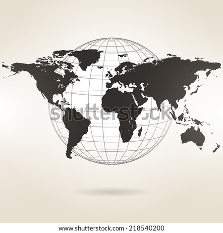 world map on a light background - stock vector