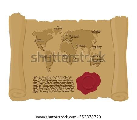 World map on ancient scroll with seal of King. Old document. Archaic treasure map. Abstract handwritten text. Antique manuscript with mainlands. Geographic map of ancient world  - stock vector