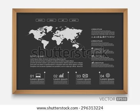 World map on blackboard,vector - stock vector