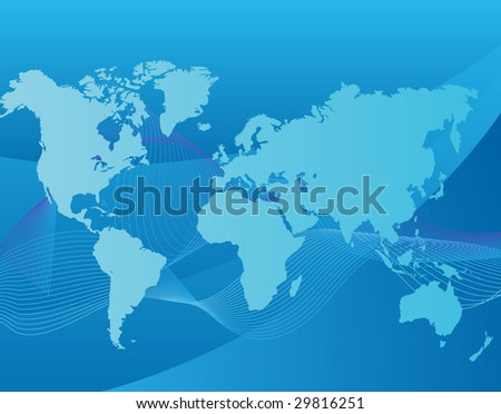 world map on blue background - stock vector