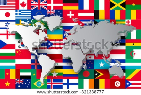 World map on different flags background. Vector.