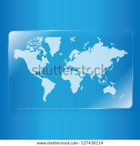 world map on glass plate background - stock vector