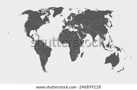 world map on gray background. Vector illustration - stock vector