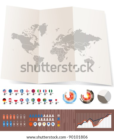 World map on old map and flags of different countries, diagrams and other signs. You can select any country by color - stock vector