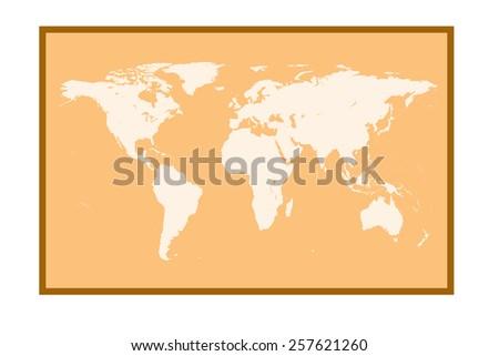 World map on orange background.   - stock vector
