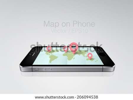 world map on phone screen - stock vector
