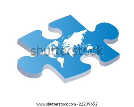World map on puzzle piece stock vector 22239652 shutterstock world map on puzzle piece gumiabroncs Choice Image