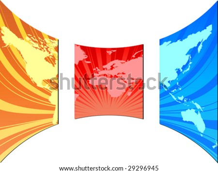 world map on screen - stock vector