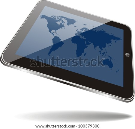 World map on tablet  screen. No transparency effects. EPS8 Only. - stock vector