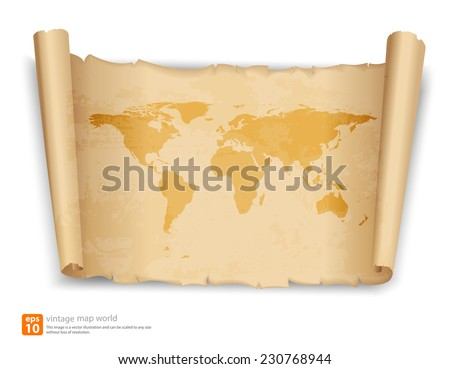 World map on vintage scroll paper vector format