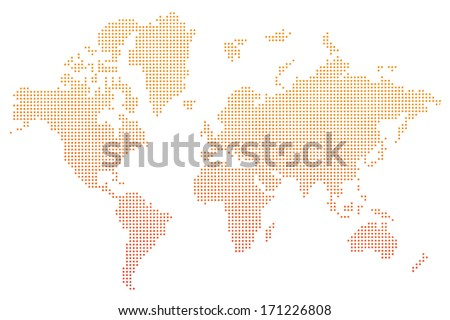world map orange dots vector  - stock vector