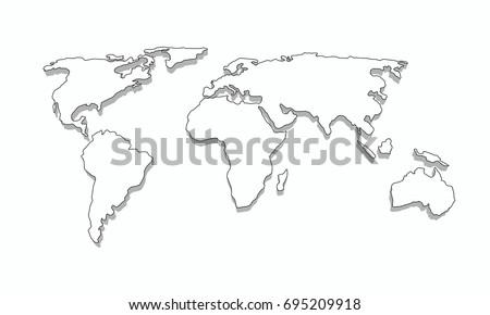 Africa world map graphic vector vectores en stock 707995429 world map outline 3d graphic vector design gumiabroncs Gallery