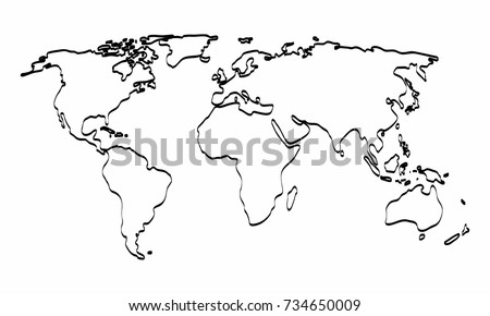 World map outline graphic freehand drawing stock photo photo world map outline graphic freehand drawing on white background vector illustration gumiabroncs Images