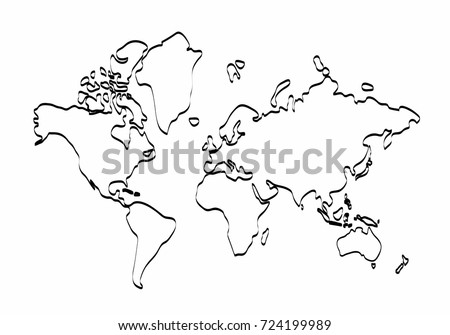 world map outline graphic freehand drawing on white background vector of asia europe