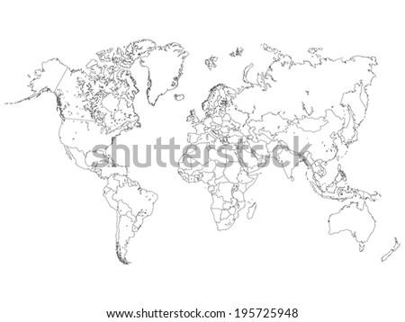World Map Outline Illustration - stock vector