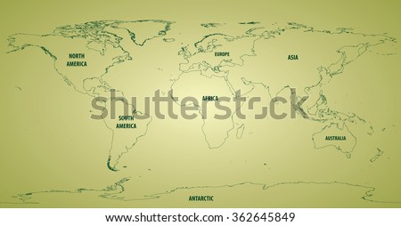 world map outlines continents stock vector 362645849 shutterstock