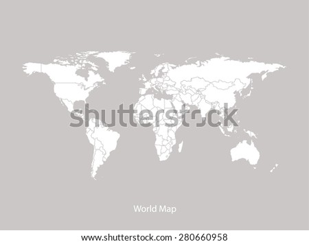 World map outlines with countries in faded grey background, World map vector in contrasted design for brochure template, tourist map, advertisement, web page design, science and education uses - stock vector