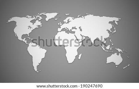 World map outlines  with shadow effects. EPS10 vector image. - stock vector